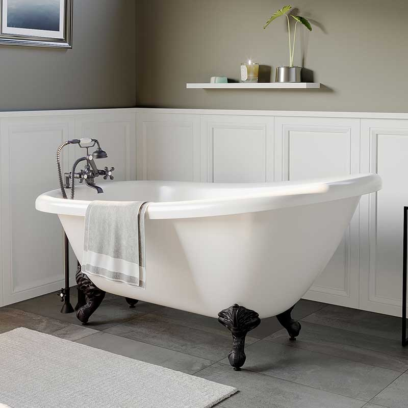 "Cambridge Plumbing Acrylic Slipper Bathtub 61"" X 28"" with 7"" Deck Mount Faucet Drillings and Complete Brushed Nickel Plumbing Package"