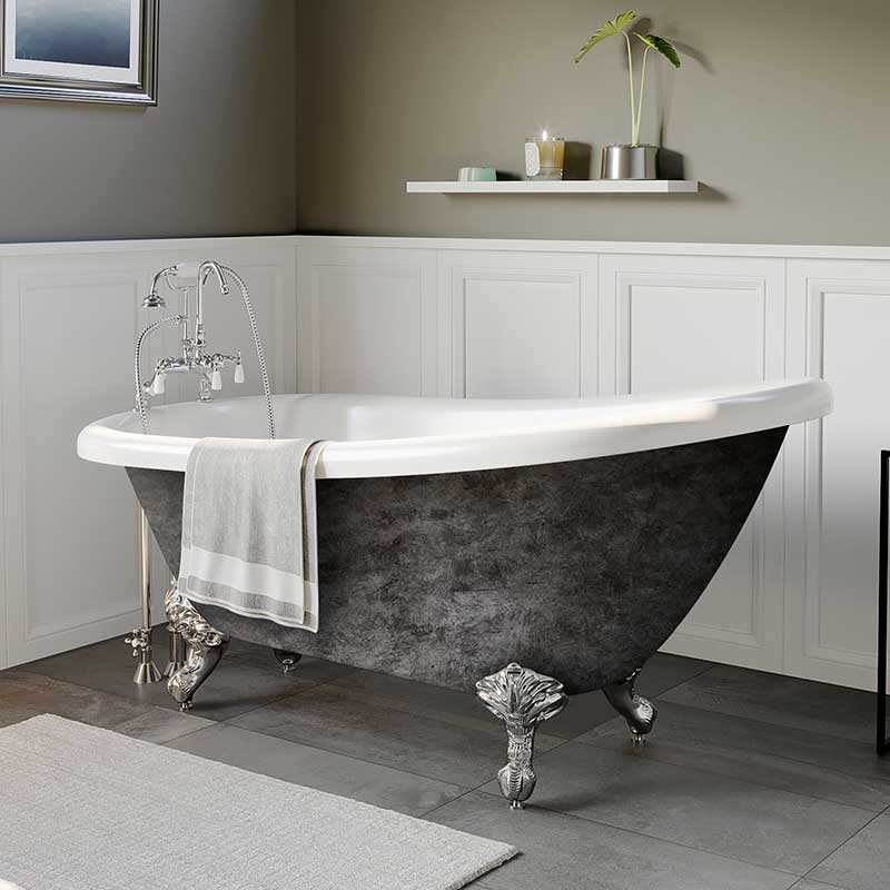 "Cambridge Plumbing Scorched Platinum 61"" x 28"" Acrylic Slipper Bathtub with"" 7"" Deck Mount Faucet Holes and Polished Chrome Ball and Claw Feet"