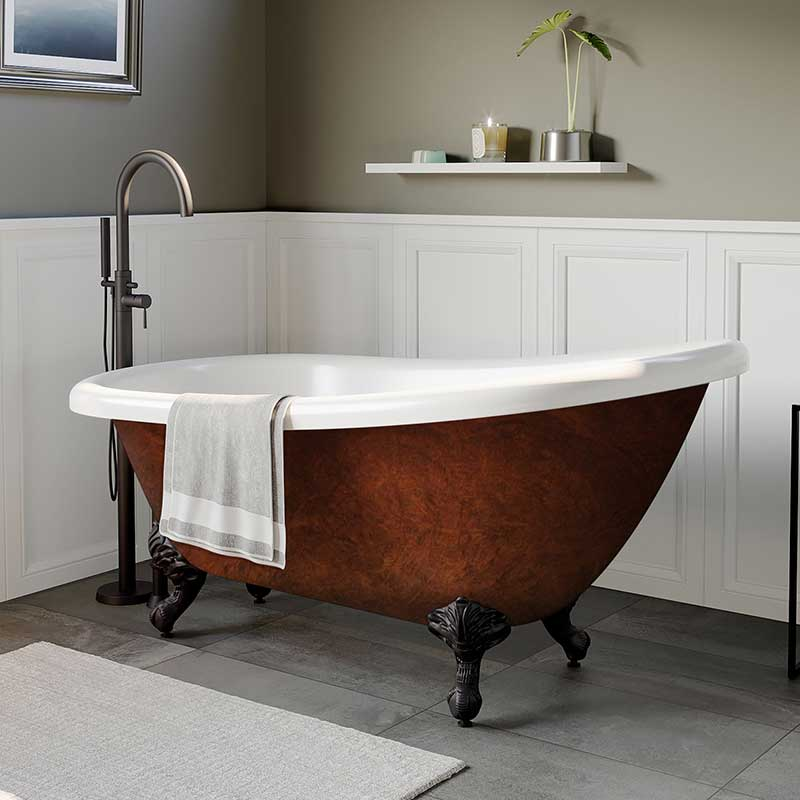 "Cambridge Plumbing Acrylic Slipper Clawfoot Bathtub 61""x30"" Faux Copper Bronze Finish on Exterior with No Deck Mount Faucet Drillings and Oil Rubbed Bronze Feet"