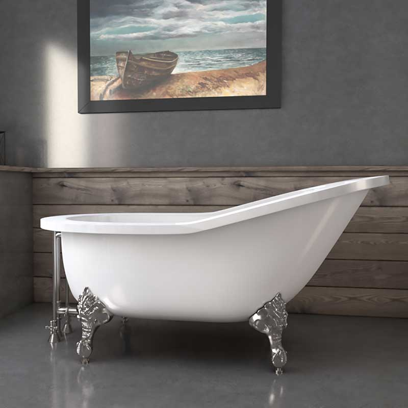 "Cambridge Plumbing 61"" Extra wide Acrylic Slipper tub with no faucet holes and Brushed Nickel claw feet"