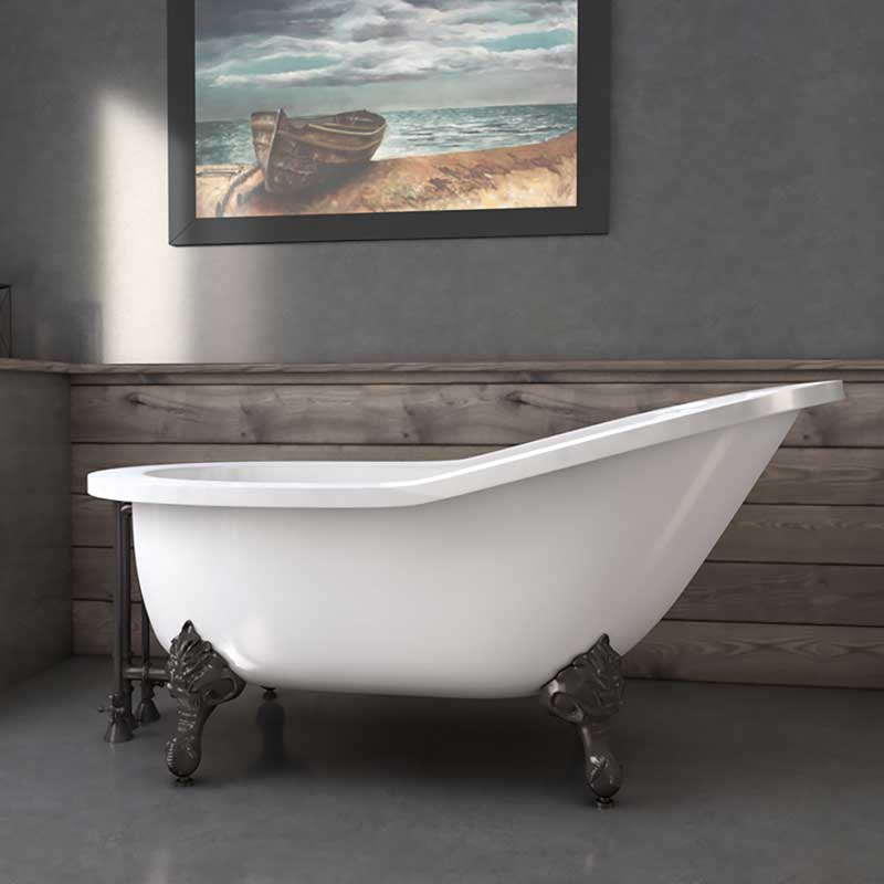 "Cambridge Plumbing 61"" Extra wide Acrylic Slipper tub with no faucet holes and Oil Rubbed Bronze claw feet"