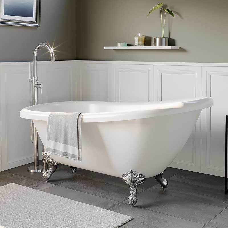"Cambridge Plumbing Acrylic Slipper Bathtub 67"" X 28"" with no Faucet Drillings and complete Polished Chrome Plumbing Package"