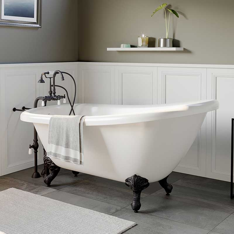 "Cambridge Plumbing Acrylic Slipper Bathtub 67"" X 28"" with no Faucet Drillings and Complete Oil Rubbed Bronze Plumbing Package"