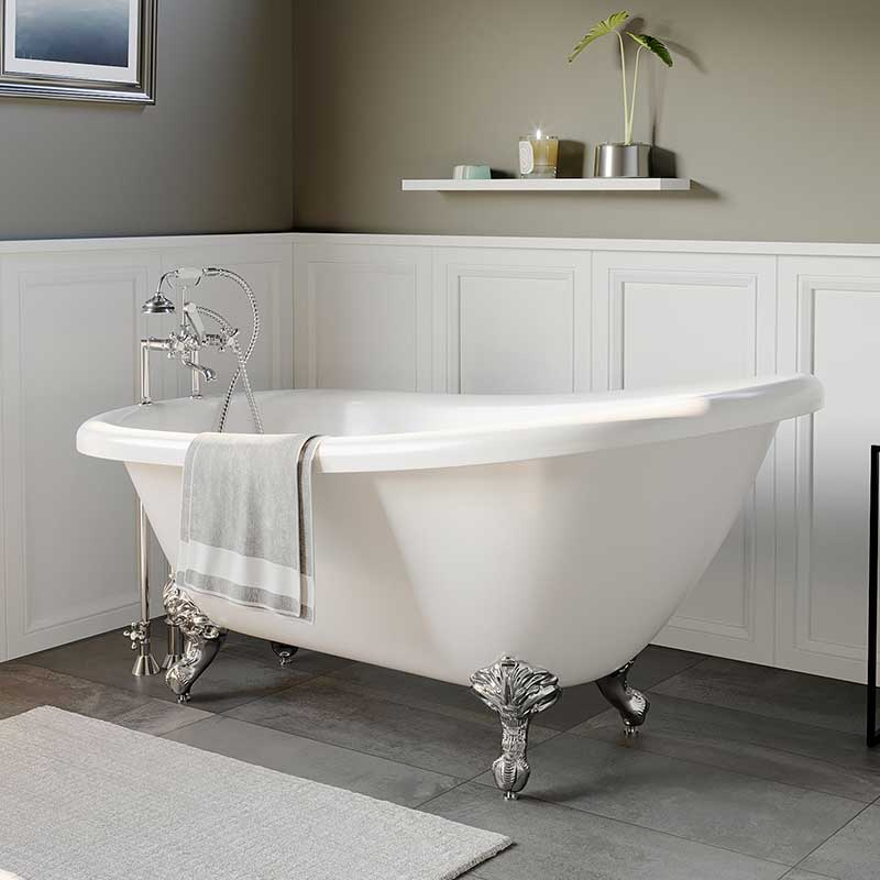 "Cambridge Plumbing Acrylic Slipper Bathtub 67"" X 28"" with 7"" Deck Mount Faucet Drillings and Polished Chrome Feet"