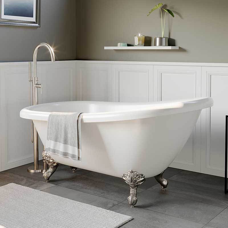 "Cambridge Plumbing Acrylic Slipper Bathtub 67"" X 28"" with No Faucet Drillings and Brushed Nickel Feet"