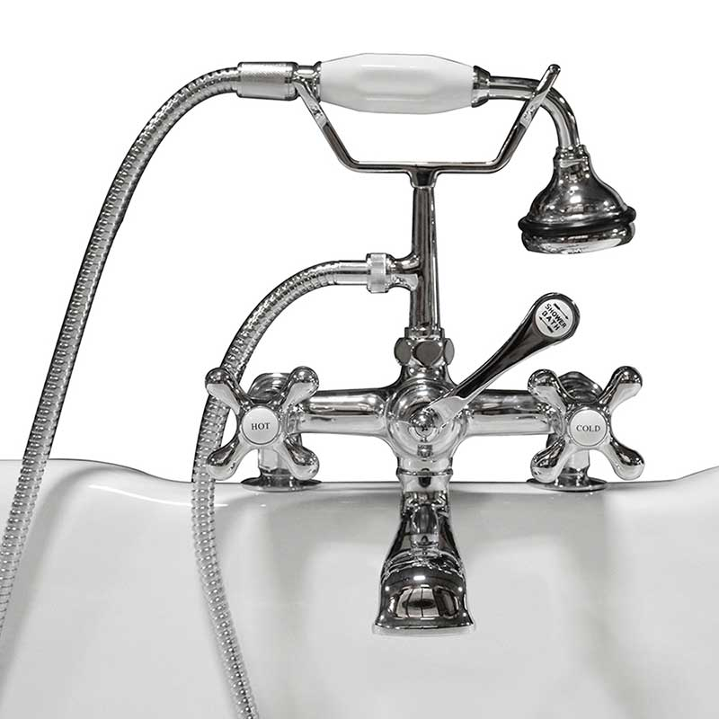 Cambridge Plumbing Clawfoot Tub Deck Mount Brass Faucet with Hand Held Shower-Polished Chrome