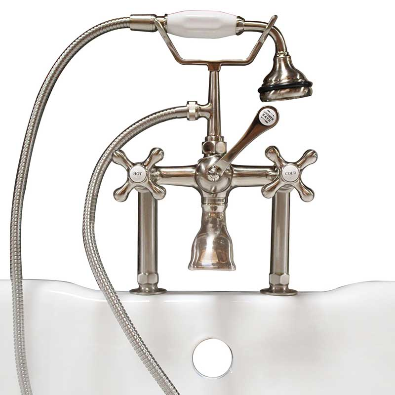 "Cambridge Plumbing Clawfoot Tub 6"" Deck Mount Brass Faucet with Hand Held Shower- Brushed Nickel"