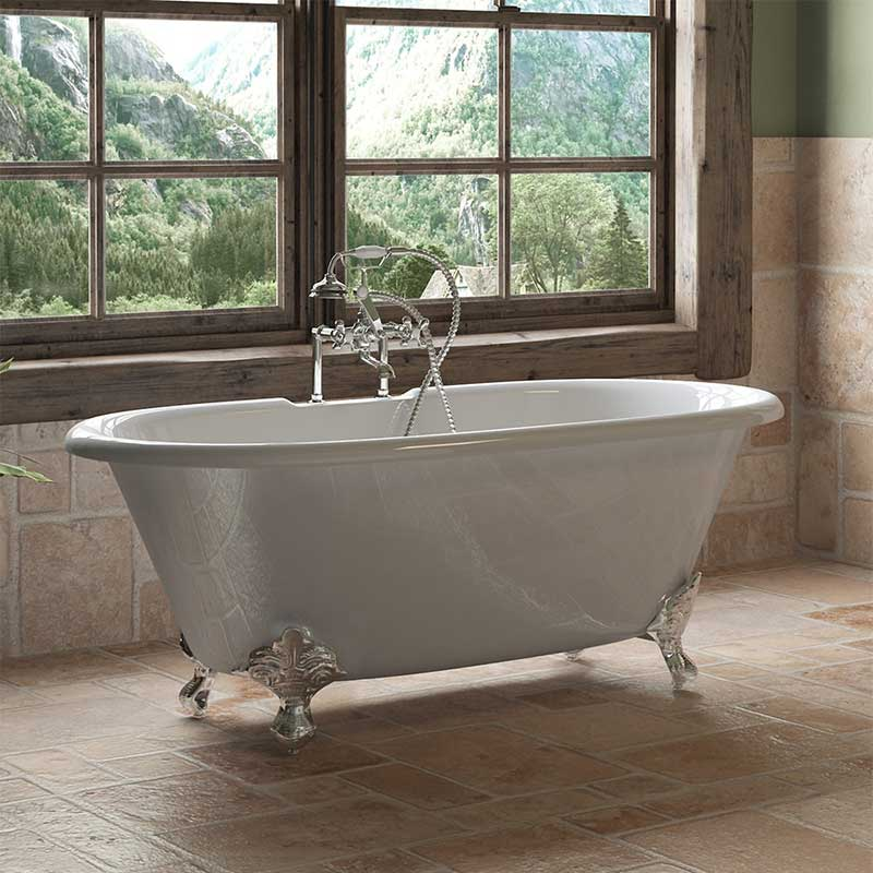 "Cambridge Plumbing Cast Iron Double Ended Clawfoot Tub 60"" X 30"" with 7"" Deck Mount Faucet Drillings and Polished Chrome Feet"