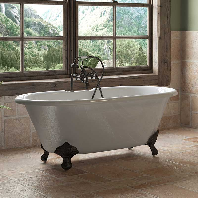 "Cambridge Plumbing Cast Iron Double Ended Clawfoot Tub 60"" X 30"" with 7"" Deck Mount Faucet Drillings and Oil Rubbed Bronze Feet"