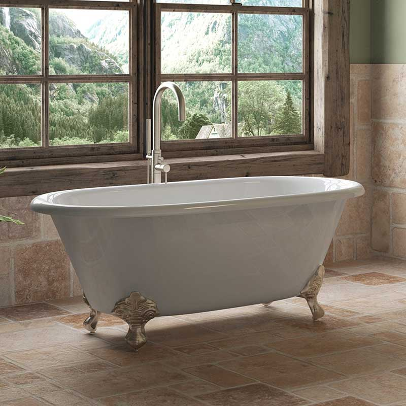 "Cambridge Plumbing Cast Iron Double Ended Clawfoot Tub 60"" X 30"" with No Faucet Drillings and Brushed Nickel Feet"