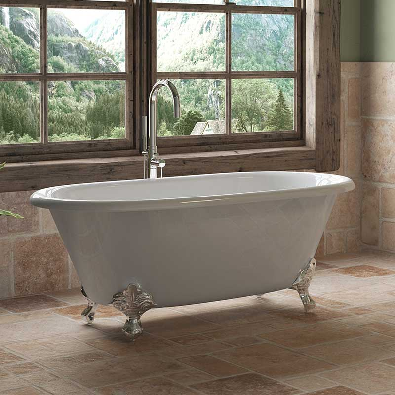 "Cambridge Plumbing Cast Iron Double Ended Clawfoot Tub 60"" X 30"" with No Faucet Drillings and Polished Chrome Feet"