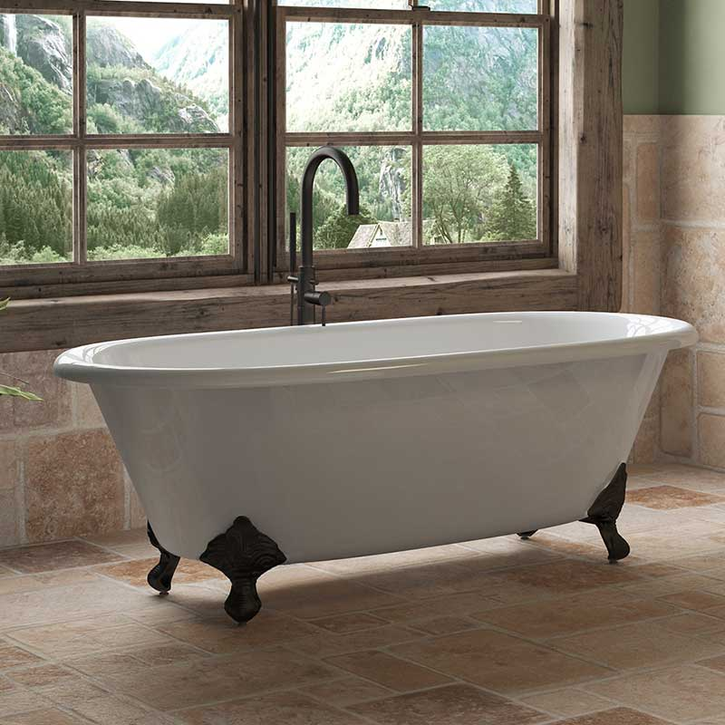 "Cambridge Plumbing Cast Iron Double Ended Clawfoot Tub 67"" X 30"" with No Faucet Drillings and Oil Rubbed Bronze Feet"