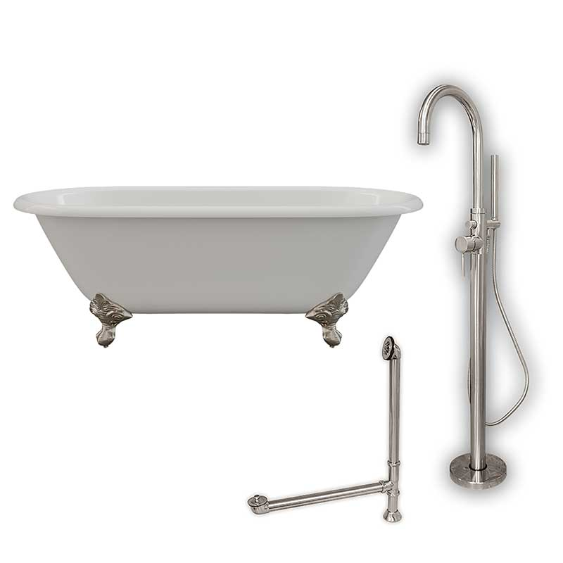 "Cambridge Plumbing Cast Iron Double Ended Clawfoot Tub 60"" X 30"" with no Faucet Drillings and Complete Brushed Nickel Modern Freestanding Tub Filler with Hand Held Shower Assembly Plumbing Package"