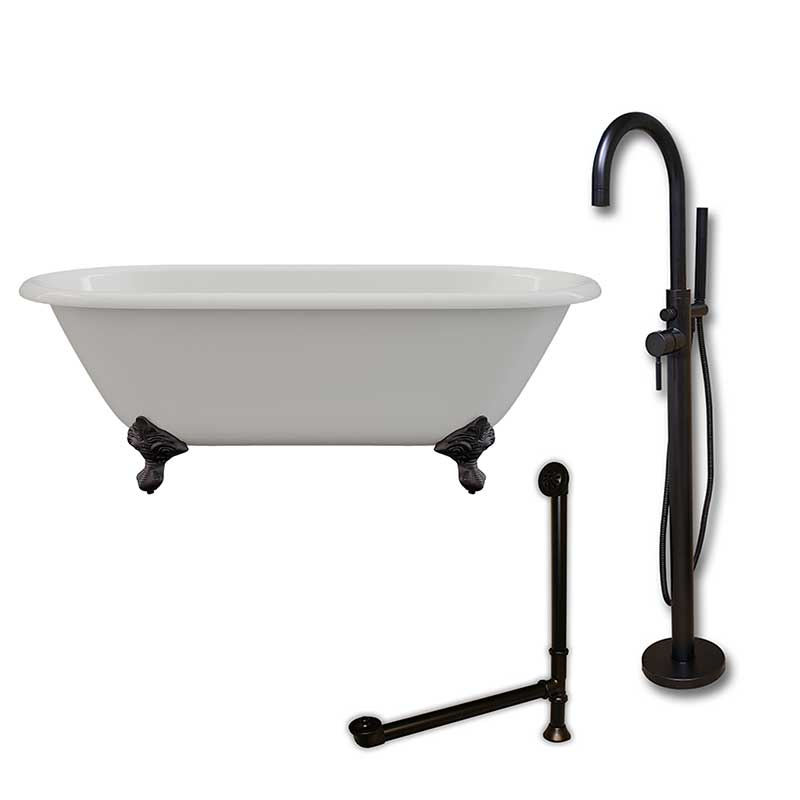 "Cambridge Plumbing Cast Iron Double Ended Clawfoot Tub 60"" X 30"" with no Faucet Drillings and Complete Oil Rubbed Bronze Modern Freestanding Tub Filler with Hand Held Shower Assembly Plumbing Package"