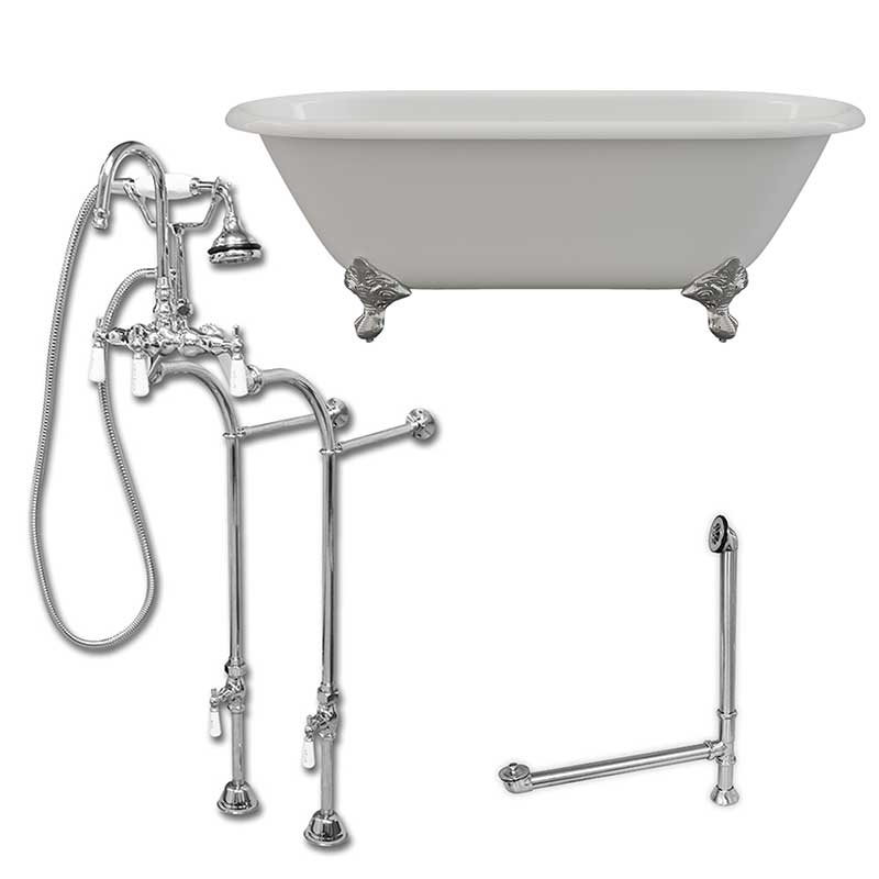 "Cambridge Plumbing Cast Iron Double Ended Clawfoot Tub 60"" X 30"" with no Faucet Drillings and Complete Polished Chrome Free Standing English Telephone Style Faucet with Hand Held Shower Assembly Plumbing Package"