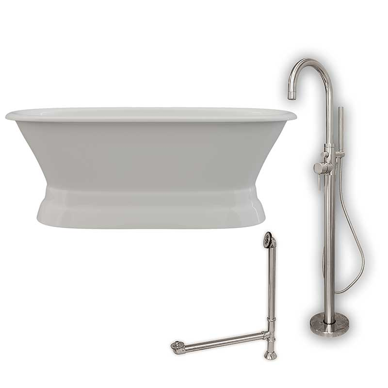 Cambridge Plumbing 66 Inch Cast Iron Dual Ended Pedestal Bathtub with no Faucet drillings & Complete plumbing package in Brushed Nickel