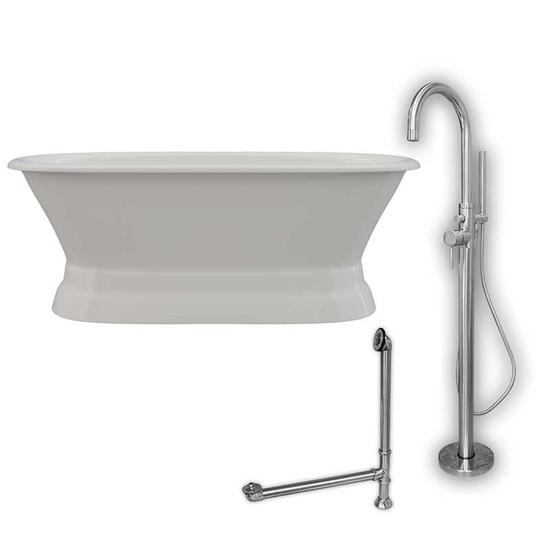 Cambridge Plumbing 66 Inch Cast Iron Dual Ended Pedestal Bathtub with no Faucet drillings & Complete plumbing package in Chrome