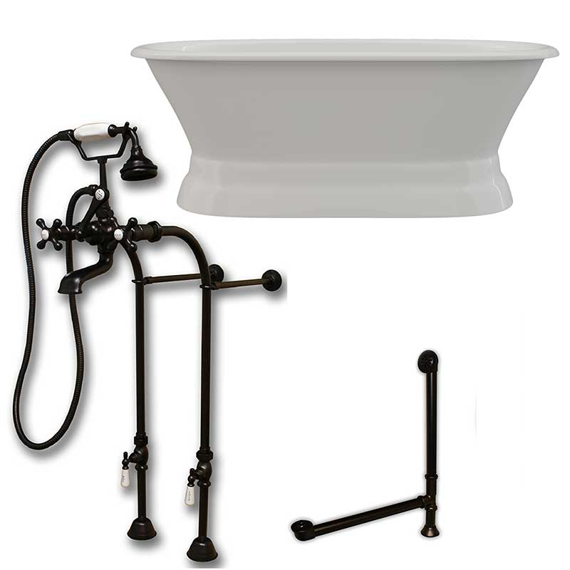 Cambridge Plumbing 66 Inch Cast Iron Dual Ended Pedestal Bathtub with No Faucet drillings and Complete plumbing packge in Oil Rubbed Bronze