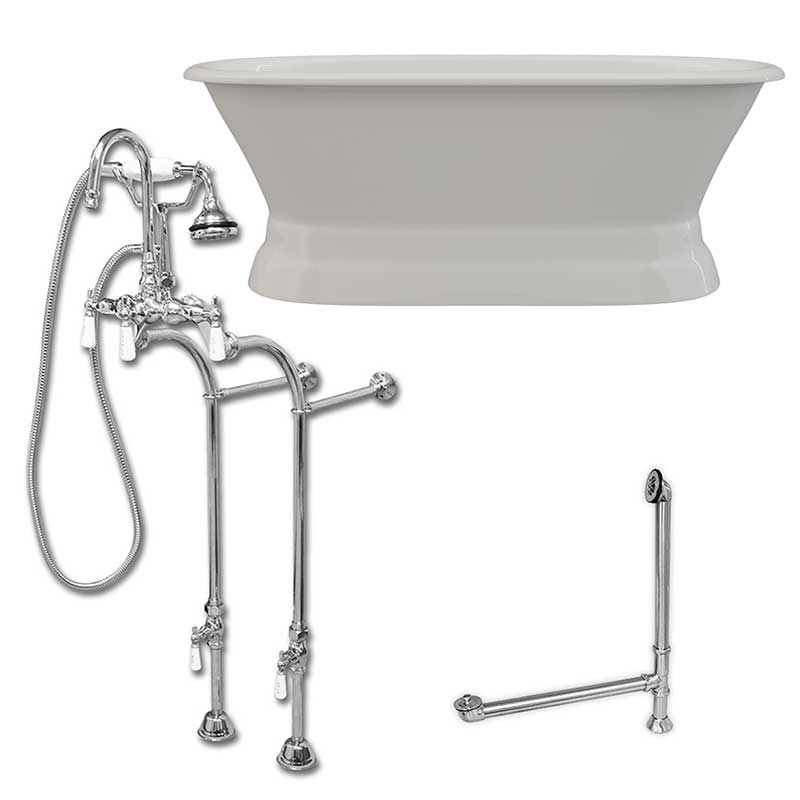Cambridge Plumbing 66 Inch Cast Iron Dual Ended Pedestal Bathtub with No Faucet drillings and Complete plumbing packge in Polished Chrome