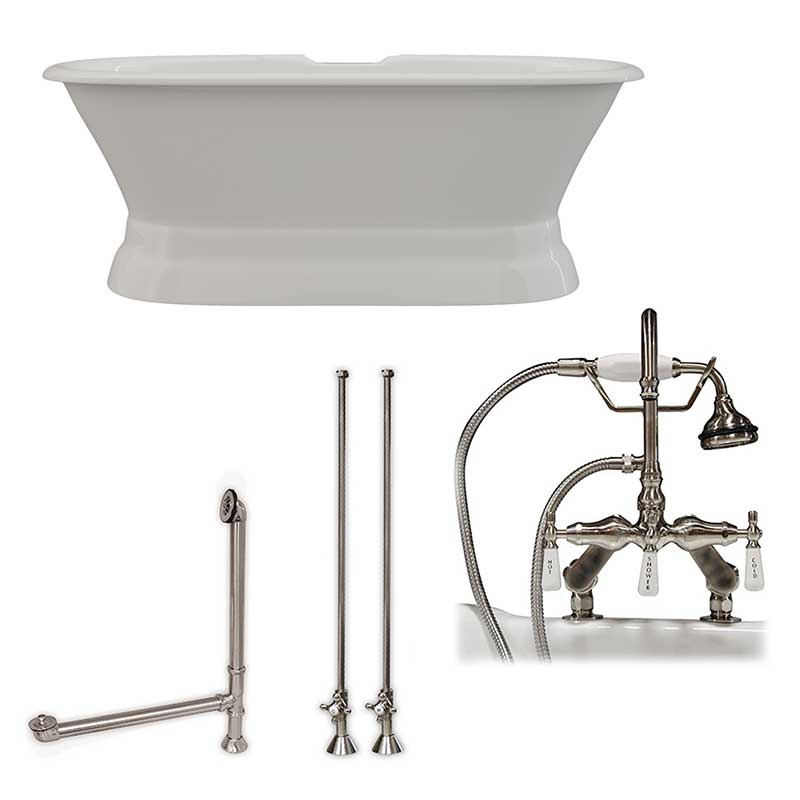 Cambridge Plumbing 66 Inch Cast Iron Dual Ended Pedestal Bathtub with Deckmount faucet drillings Complete plumbing package in Brushed Nickel