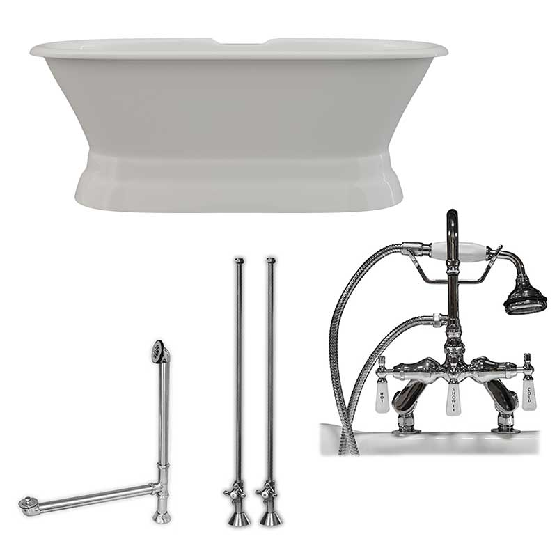 Cambridge Plumbing 66 Inch Cast Iron Dual Ended Pedestal Bathtub with Deckmount faucet drillings Complete plumbing package in Polished Chrome