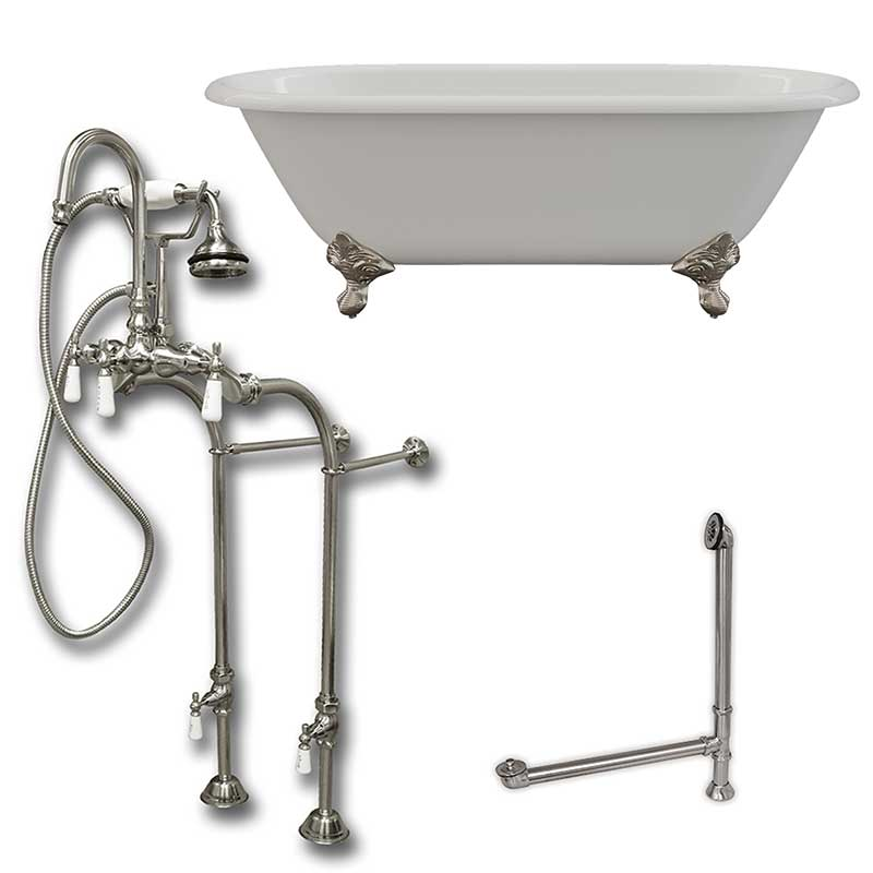 "Cambridge Plumbing Cast Iron Double Ended Clawfoot Tub 67"" X 30"" with no Faucet Drillings and Complete Brushed Nickel Free Standing English Telephone Style Faucet with Hand Held Shower Assembly Plumbing Package"