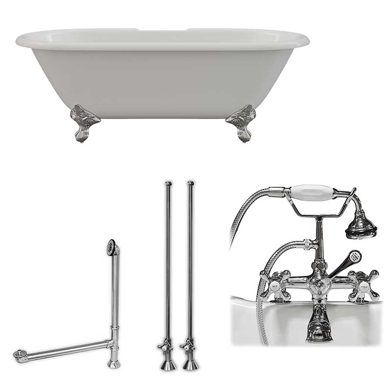 "Cambridge Plumbing Cast Iron Double Ended Clawfoot Tub 67"" X 30"" 7"" Deck Mount Faucet Drillings and Complete Polished Chrome Plumbing Package"