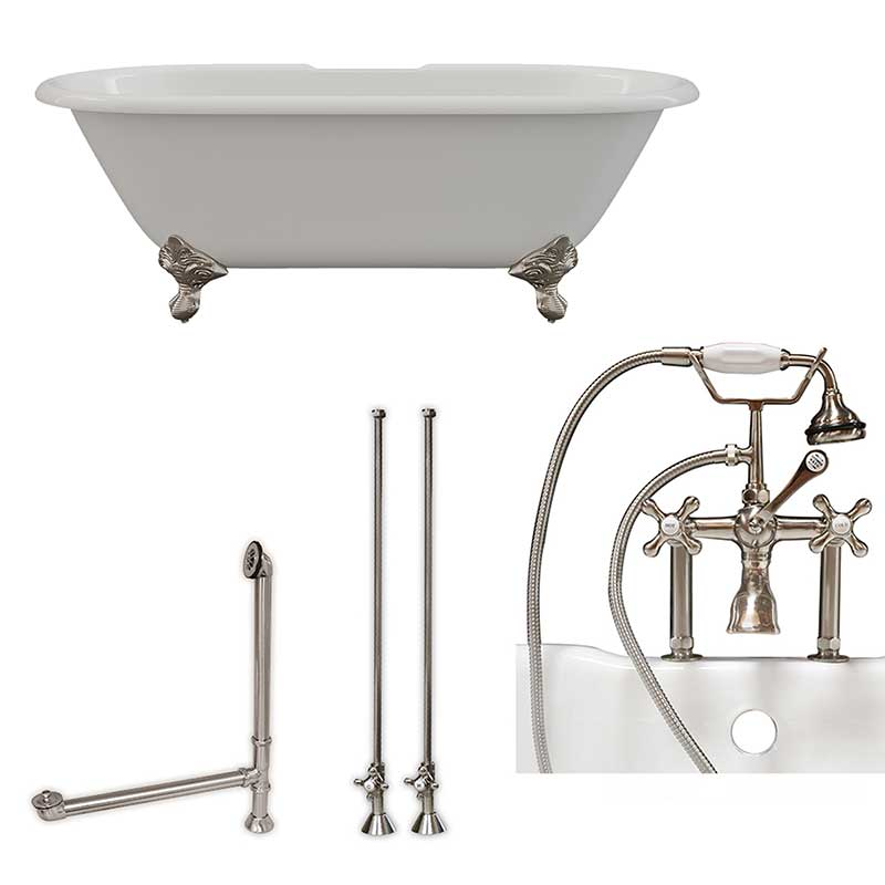 "Cambridge Plumbing Cast Iron Double Ended Clawfoot Tub 67"" X 30"" with 7"" Deck Mount Faucet Drillings and Complete Brushed Nickel Plumbing Package With Six Inch Deck Mount Risers"