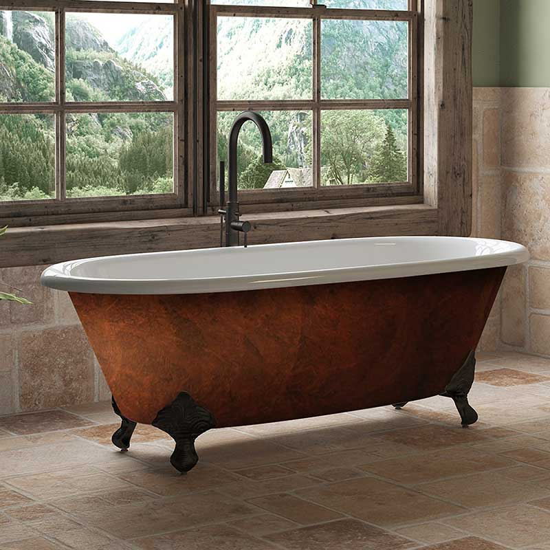 "Cambridge Plumbing Cast Iron Clawfoot Bathtub 67""x30"" Faux Copper Bronze Finish on Exterior with No Faucet Drillings and Oil Rubbed Bronze Feet"