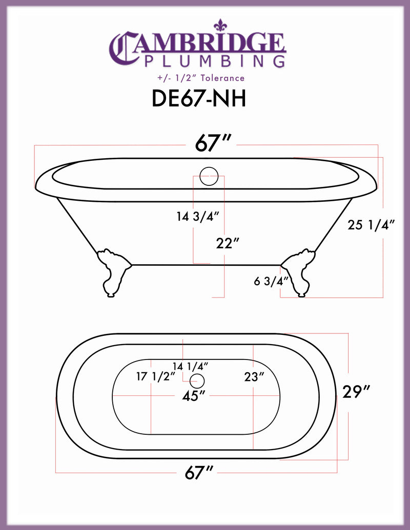"Cambridge Plumbing Cast Iron Double Ended Clawfoot Tub 67"" X 30"" with No Faucet Drillings and Oil Rubbed Bronze Feet 2"