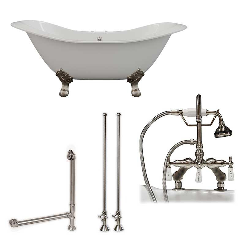 "Cambridge Plumbing Cast Iron Double Ended Slipper Tub 71"" X 30"" with 7"" Deck Mount Faucet Drillings and English Telephone Style Faucet Complete Brushed Nickel Plumbing Package"