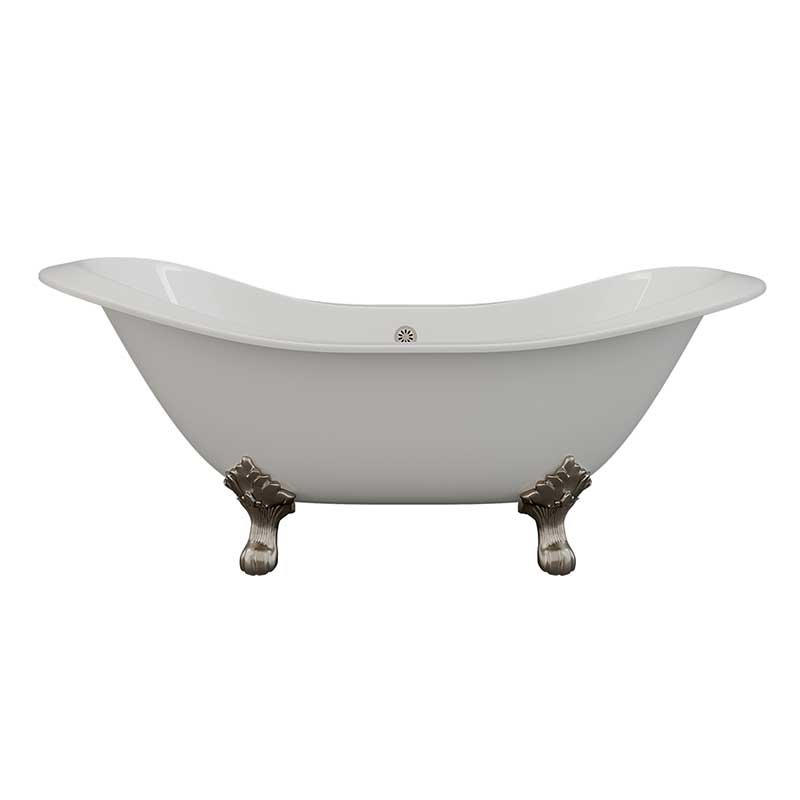 "Cambridge Plumbing Cast Iron Double Ended Slipper Tub 71"" X 30"" with No Faucet Drillings and Brushed Nickel Feet"