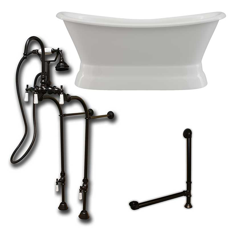 "Cambridge Plumbing Cast Iron Double Ended Slipper Tub 71"" X 30"" with no Faucet Drillings and Complete Oil Rubbed Bronze Free Standing English Telephone Style Faucet with Hand Held Shower Assembly Plumbing Package"