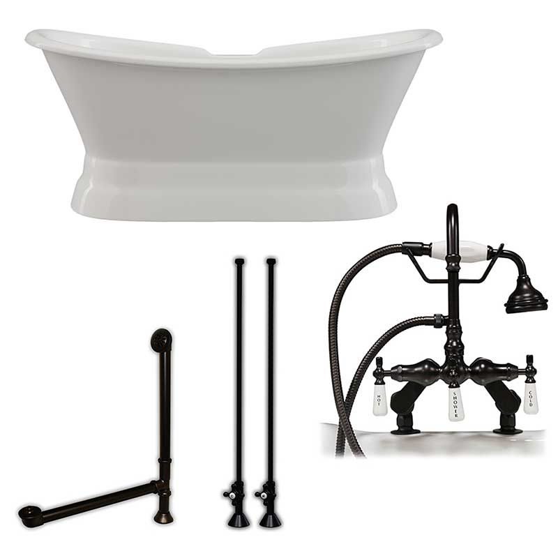 "Cambridge Plumbing Cast Iron Double Ended Slipper Tub 71"" X 30"" with 7"" Deck Mount Faucet Drillings and English Telephone Style Faucet Complete Oil Rubbed Bronze Plumbing Package"