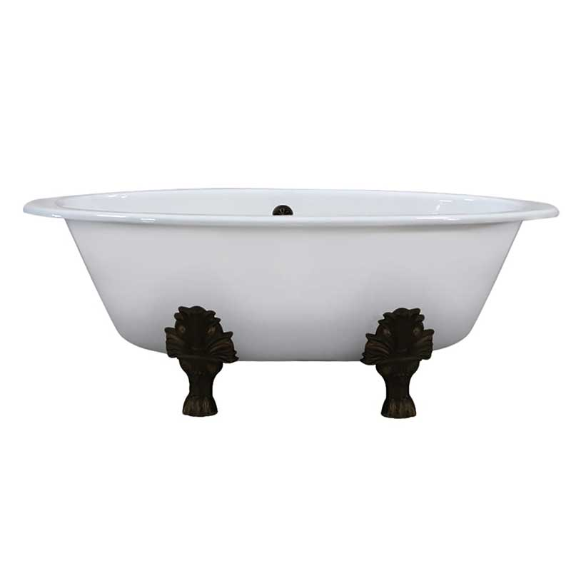 Cambridge Plumbing Extra Wide Cast Iron Clawfoot Tub, 65.5 x 35.5 No Faucet Holes and Oil Rubbed Bronze Feet