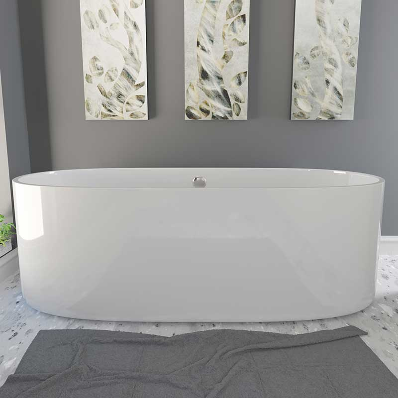 Cambridge Plumbing Dolomite Mineral Composite Freestanding Double Ended Tub 71 x 33.5