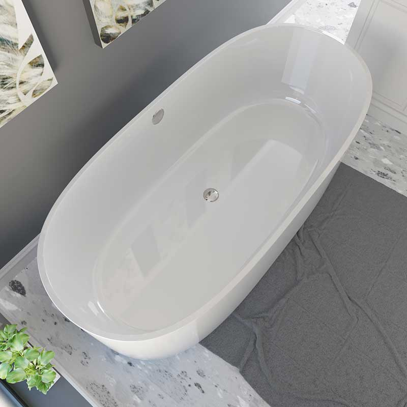 Cambridge Plumbing Dolomite Mineral Composite Freestanding Double Ended Tub 71 x 33.5 2