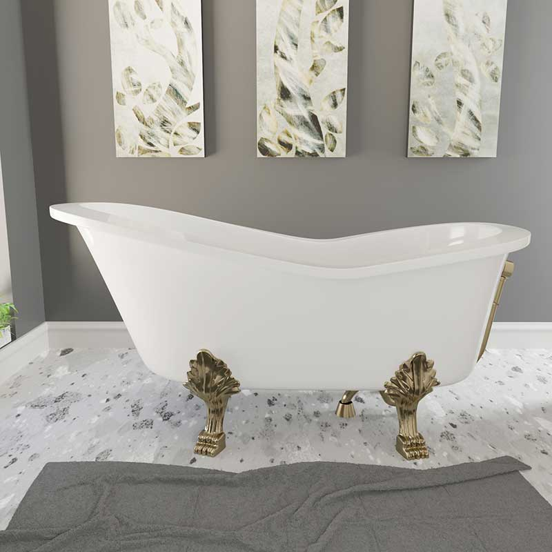 Cambridge Plumbing Dolomite Mineral Composite Clawfoot Slipper Tub with Antique Brass Feet and Drain Assembly 62 x 30
