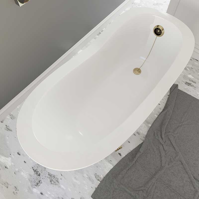 Cambridge Plumbing Dolomite Mineral Composite Clawfoot Slipper Tub with Antique Brass Feet and Drain Assembly 62 x 30 2