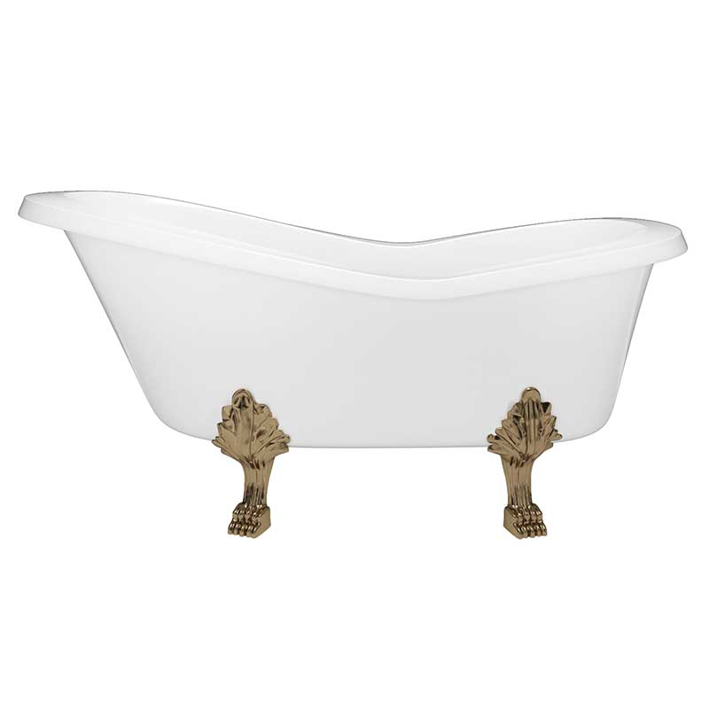 Cambridge Plumbing Dolomite Mineral Composite Clawfoot Slipper Tub with Antique Brass Feet and Drain Assembly 62 x 30 3