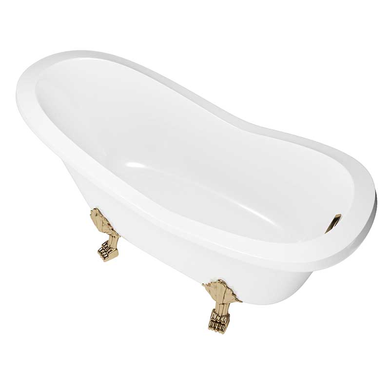 Cambridge Plumbing Dolomite Mineral Composite Clawfoot Slipper Tub with Antique Brass Feet and Drain Assembly 62 x 30 4