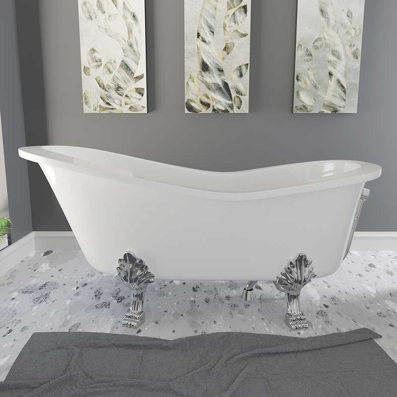 Cambridge Plumbing Dolomite Mineral Composite Clawfoot Slipper Tub with Polished Chrome Feet and Drain Assembly 66 x 30