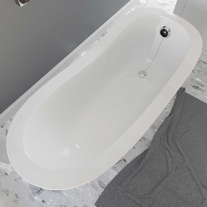 Cambridge Plumbing Dolomite Mineral Composite Clawfoot Slipper Tub with Polished Chrome Feet and Drain Assembly 66 x 30 2