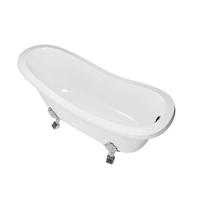 Cambridge Plumbing Dolomite Mineral Composite Clawfoot Slipper Tub with Polished Chrome Feet and Drain Assembly 66 x 30 4
