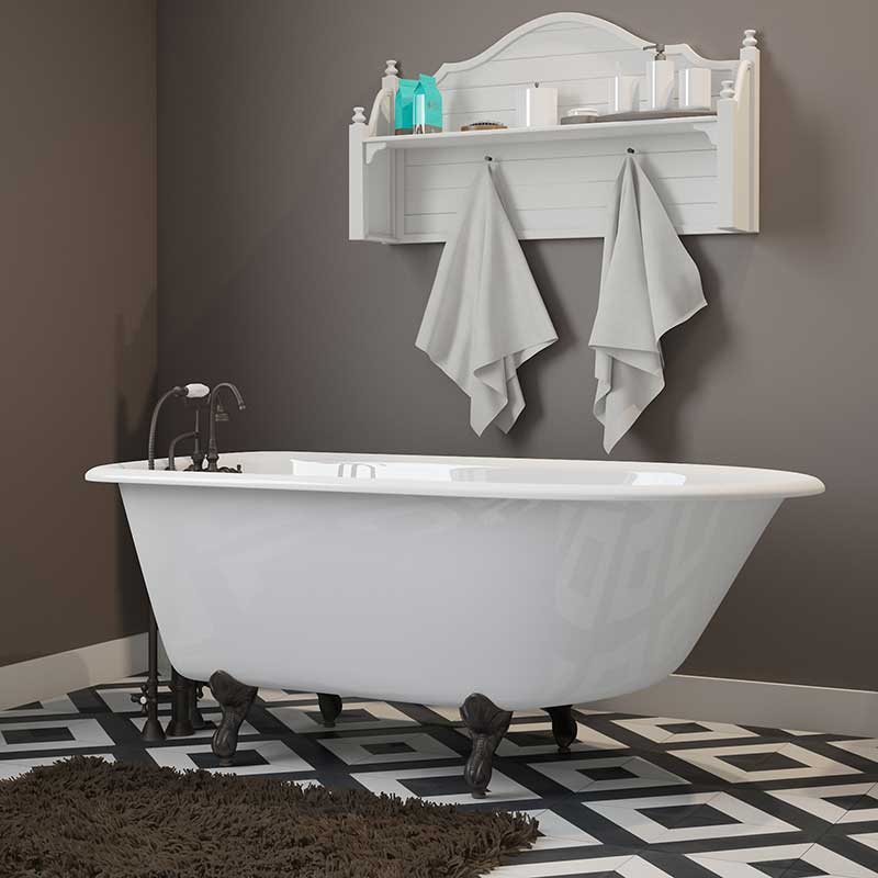 "Cambridge Plumbing Cast-Iron Rolled Rim Clawfoot Tub 55"" X 30"" with 3 3/8"" Bathtub Wall Faucet Drillings and Oil Rubbed Bronze Feet"