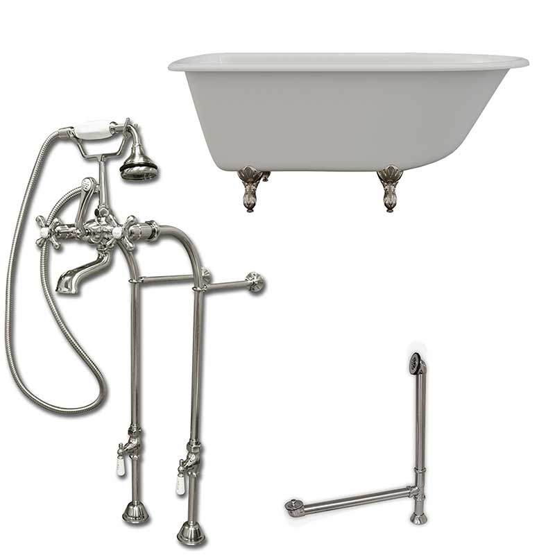 "Cambridge Plumbing Cast-Iron Rolled Rim Clawfoot Tub 55"" X 30"" with complete Free Standing British Telephone Faucet and Hand Held Shower Brushed Nickel Plumbing Package"