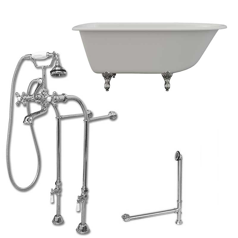 "Cambridge Plumbing Cast-Iron Rolled Rim Clawfoot Tub 55"" X 30"" with complete Free Standing British Telephone Faucet and Hand Held Shower Polished Chrome Plumbing Package"