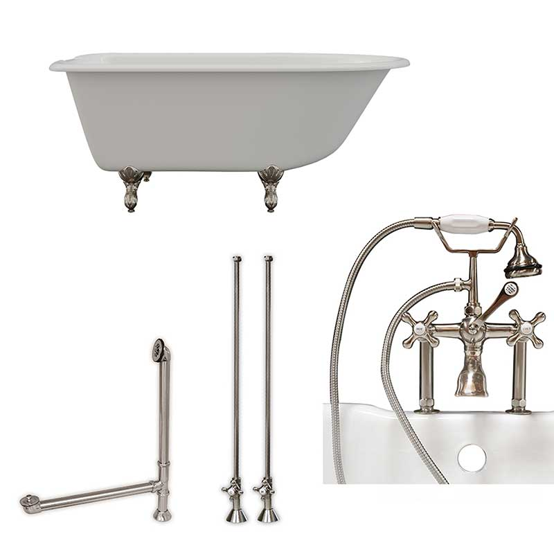 "Cambridge Plumbing Cast-Iron Rolled Rim Clawfoot Tub 55"" X 30"" with 7"" Deck Mount Faucet Drillings And British Telephone Faucet Complete Brushed Nickel Plumbing Package With Six Inch Deck Mount Risers"