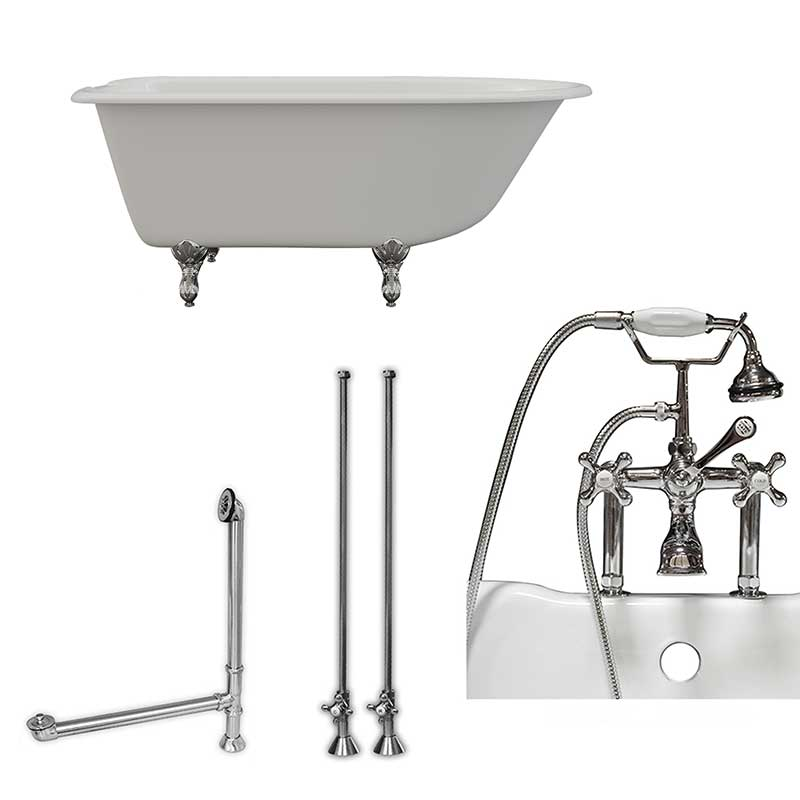 "Cambridge Plumbing Cast-Iron Rolled Rim Clawfoot Tub 55"" X 30"" with 7"" Deck Mount Faucet Drillings And British Telephone Complete Polished Chrome Plumbing Package With Six Inch Deck Mount Risers"