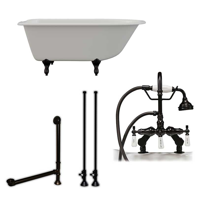 "Cambridge Plumbing Cast-Iron Rolled Rim Clawfoot Tub 55"" X 30"" with 7"" Deck Mount Faucet Drillings and English Telephone Style Faucet Complete Oil Rubbed Bronze Plumbing Package"